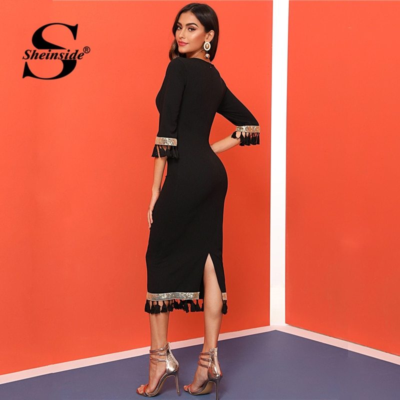Sheinside Black Sequin Detail Half Sleeve Dress Women 19 Autumn Tassel Slit Hem Pencil Dresses Ladies Elegant Bodycon Dress 2