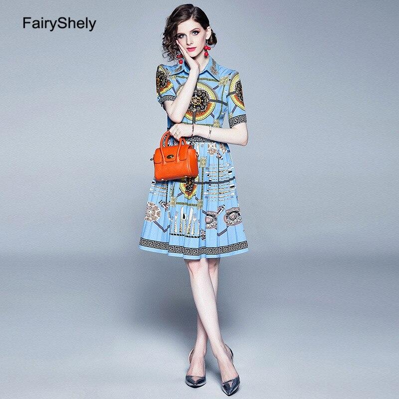 FairyShley 19 Autumn Vintage Half Sleeve Blue Print Shirt Dress Women Elegant Turn Down Collar Celebrity Evening Party Dress 3