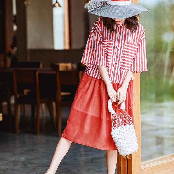 Runway Designer Stripe Shirt Dress Half Sleeve Button Down Patchwork Short Dress Women Summer Vestidos 3