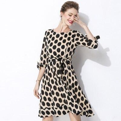New 18 Women Classic Polka Dot Dresses Plus Size Casual Bowtie Half Sleeve Office Work Dress 2