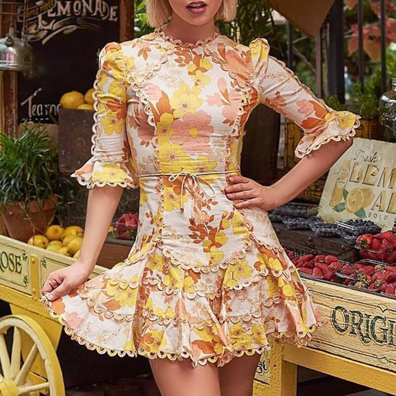 19 New Summer Yellow Print Flower Half Sleeve Mini Dresses For Women Sexy Hollow Out Bodycon Casual Beach Dress 2