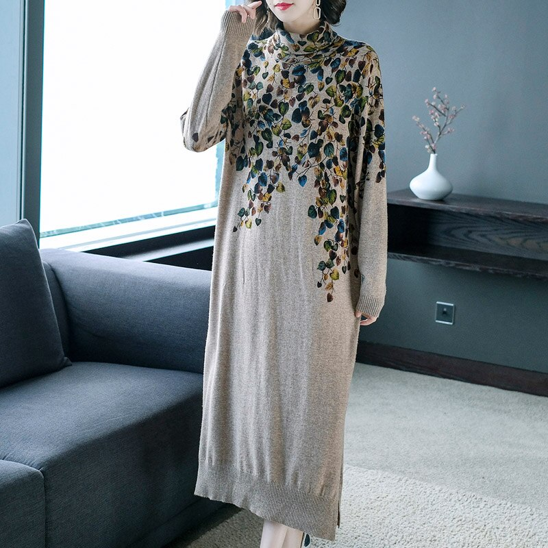 New Women Sweater Dress Half Turtleneck Long Sleeve Print Knitting Dress High Quality Female Straight Winter Knitted Dresses 3