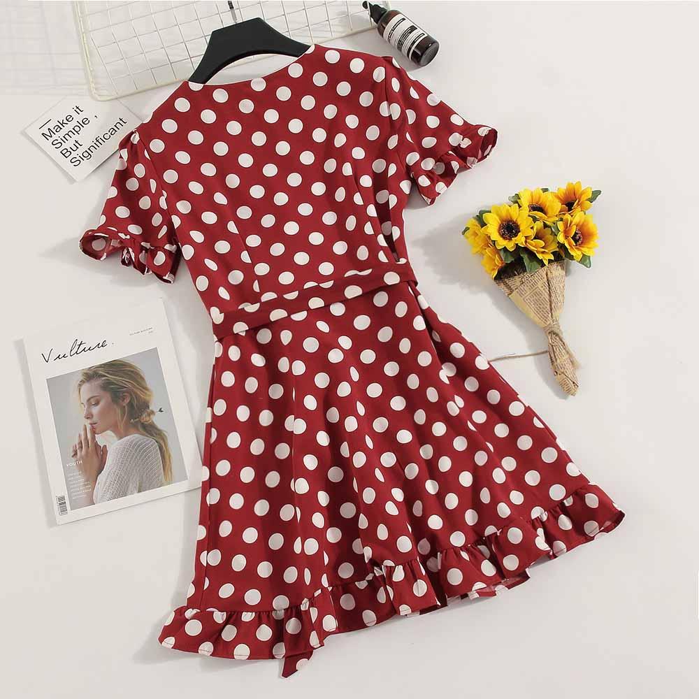 New Vintage Summer Ladies Casual Chiffon A-line Dot Half Flare Sleeves Drawstring Bowknot Dress Women Leisure Ruffles Dress 3