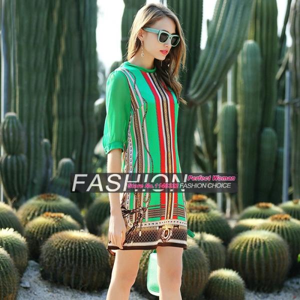 16 new spring Europe temperament Sleeve Silk Stretch Satin Dress leopard print half Sleeve straight dress