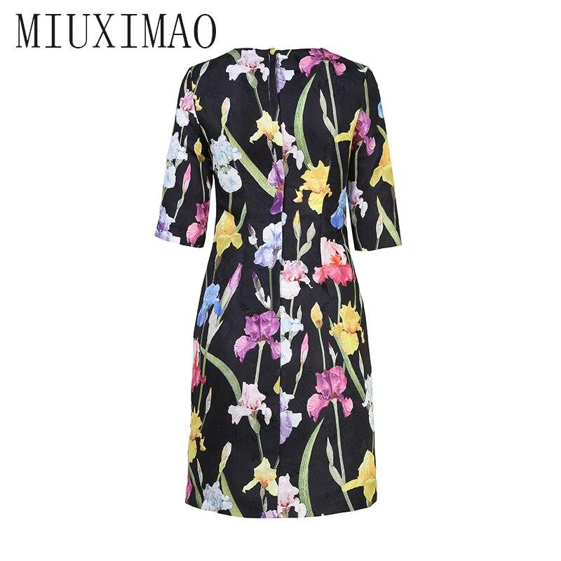 18 Autumn New Arrival Europe Style O-Neck Half Sleeve Straight Flower Pattern Print Knee-Length Elegant Dress Women 2