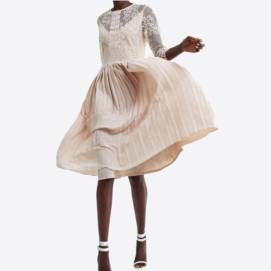 Women Fashion Half Sleeve Dress Lace Mid-Calf Femme Dress Vestidos Robe Solid O Neck Pleated Dress 2