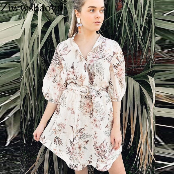 Ziwwshaoyu Linen elegant print bandage waist half sleeve dress stand collar drop shoulder puff sleeve dress