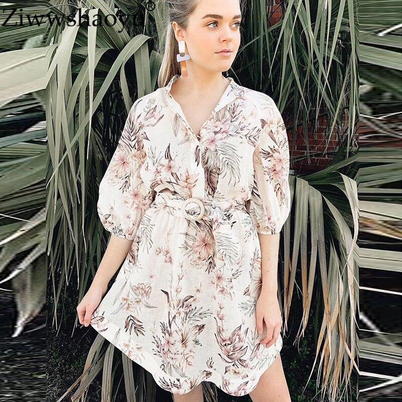 Ziwwshaoyu Linen elegant print bandage waist half sleeve dress stand collar drop shoulder puff sleeve dress