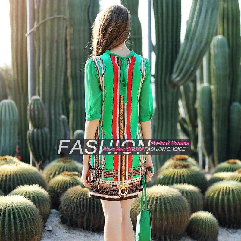 16 new spring Europe temperament Sleeve Silk Stretch Satin Dress leopard print half Sleeve straight dress 2