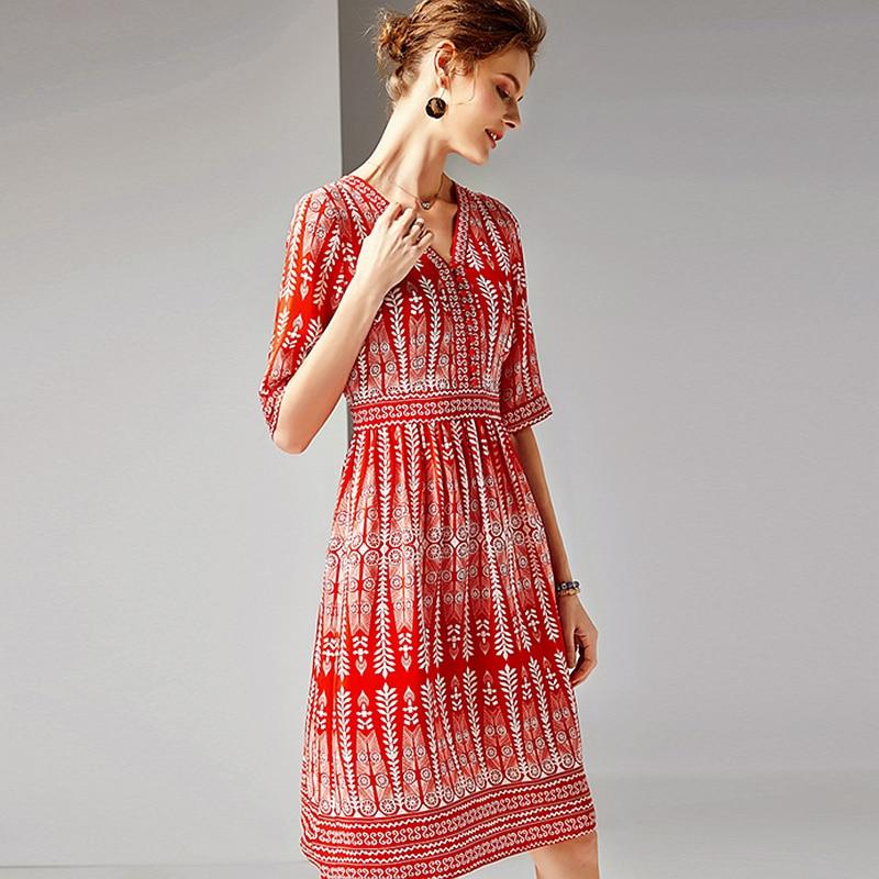 Dress Women 100% Silk Fabric Printed V Neck Half Sleeves High Waist Casual Style Dress New Fashion Spring 19 2