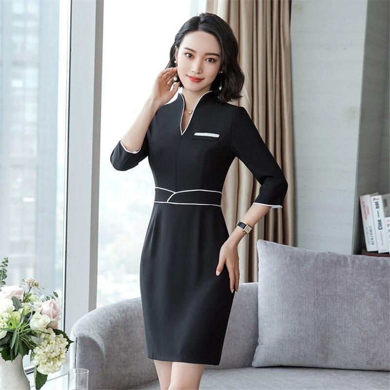 18 Summer Office Dresses For Women Elegant Business Half Sleeve Pencil Dress Ladies Casual Sretch Work Dresses D0176 3