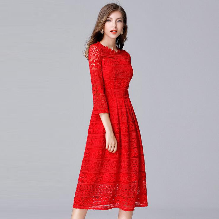 Queechalle Black Red Slim Lace Dresses for Women 19 Spring Hollow Out Half Sleeve Female Dress 3XL 4XL 5XL Plus Size Vestidos 2