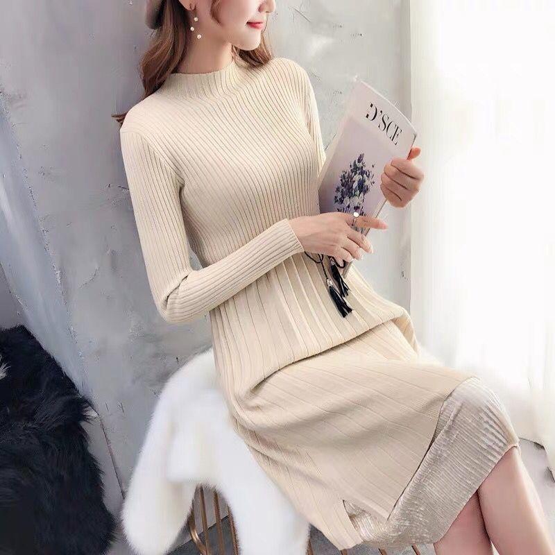 Sweater Dresses Women New Autumn Winter Loose Half Turtleneck Pullover Knit Sweater Dress Long Sleeve Slim Ladies Bottom Dress 2