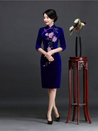 Brand New Designer Women's Velour Qipao Plus Size 4XL Handmade Sequined Beads Chinese Dress Half Sleeve Short Cheongsam Dress