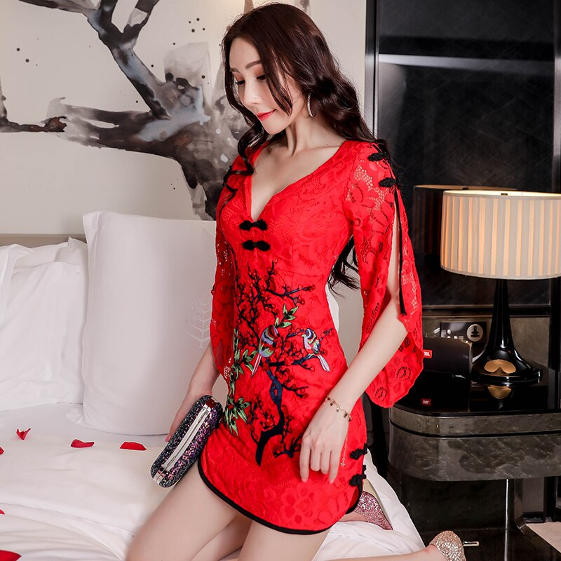 19 New Sexy Slim Modified Cheongsam Dress Chinese Style Nightclub Women's V-neck Half Sleeve Japanese Women Harajuku Dress 1
