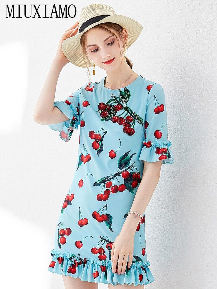 MIUXIMAO Top Quality 19 Ruway DesignFall Dress Newest Casual Dresses Women Cherryprint Ruffles Half Sleeve Dress Women 3