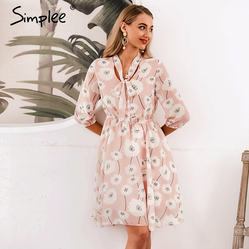 Simplee Vintage women floral dress Elegant High waist work wear office lady dress half sleeve spring summer chic party dress 3