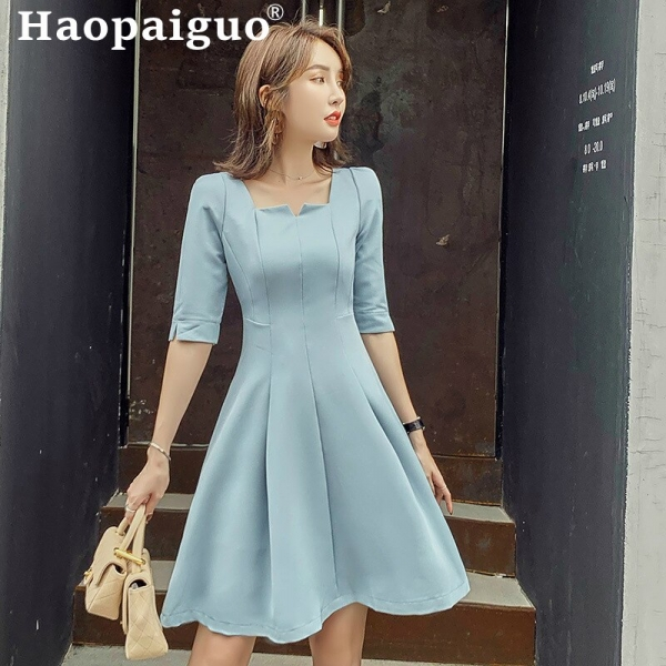 Empire Big Swing OL Office Dress Women Square Collar Half Sleeve Casual Ladies Dress Loose Short Party Dress Vestidos De Verano