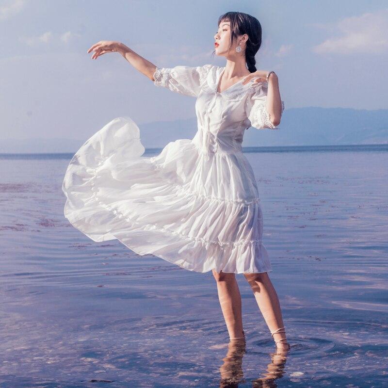 19 Summer New French Style Vintage Lace Side Elegant V Neck Half Sleeve White Dress Women Sundress Holiday Beach Dress Vestido 2