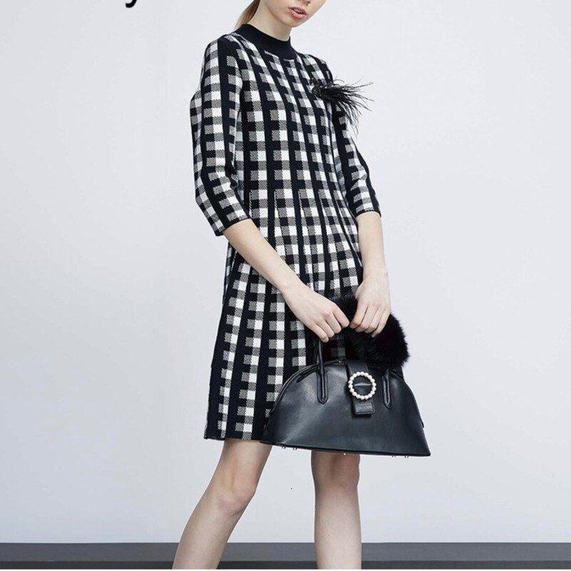 Vintage Wool Blend Plaid Sweater Dress  Autumn Winter Retro Houndstooth Appliques Half Sleeve Pleated Knitting Dress B074 1