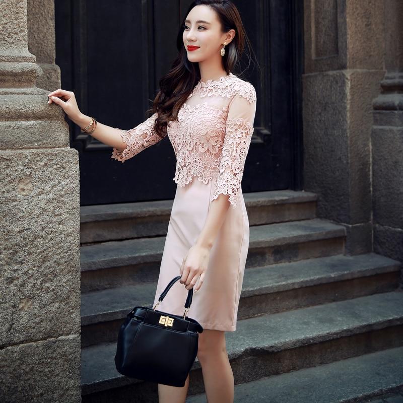 Sexy Hollow-out Lace Mini Dress O-neck Elegant Slim Women Dress Half Sleeve High Waist Office Ladies Dress vestidos 18 3