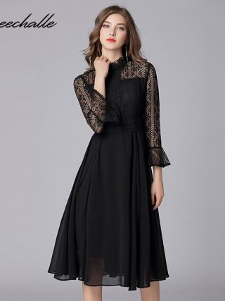 Queechalle L - 5XL Plus Size Chiffon Dress Women Hollow Out Flare Half Sleeve Floral Crochet Casual Lace Dress Femininas Vestido