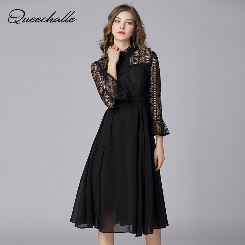 Queechalle L – 5XL Plus Size Chiffon Dress Women Hollow Out Flare Half Sleeve Floral Crochet Casual Lace Dress Femininas Vestido