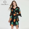 SEQINYY Chiffon Dress Summer Spring New Fashion Design Women Half Sleeve Pineapple Printed Mini Dress Black