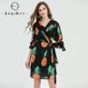 SEQINYY Chiffon Dress Summer Spring New Fashion Design Women Half Sleeve Pineapple Printed Mini Dress Black