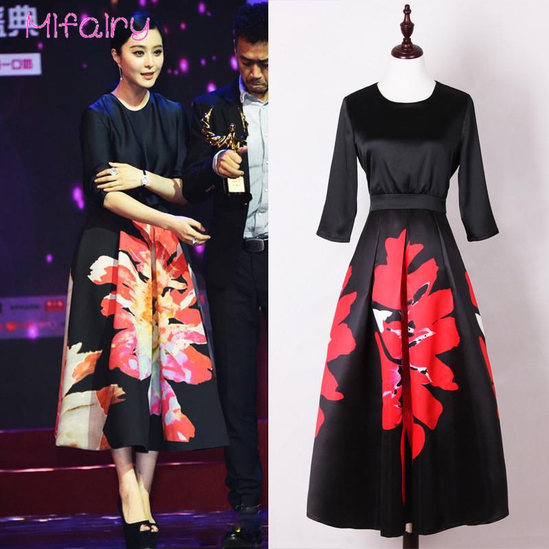 Mifairy 17 Black Half Sleeves Flowers Print Long Women Dress Plus Size Mid-calf Celebrity Style Dress 929 1