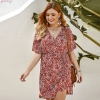 Summer Chiffon Women Dress Red Elegant Ladies Vintage V-Neck Floral Sexy Dress Boho Floral Office Half Sleeve Vestidos Clothing