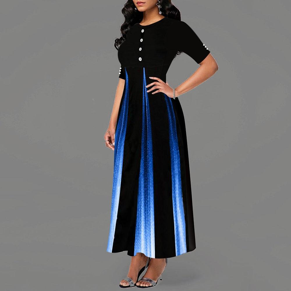 Maxi Elegant Party Dress Women Half Sleeve Floral Ankle-Length Female Black Summer Ladies Dress A-line Long Dress robe femme 2