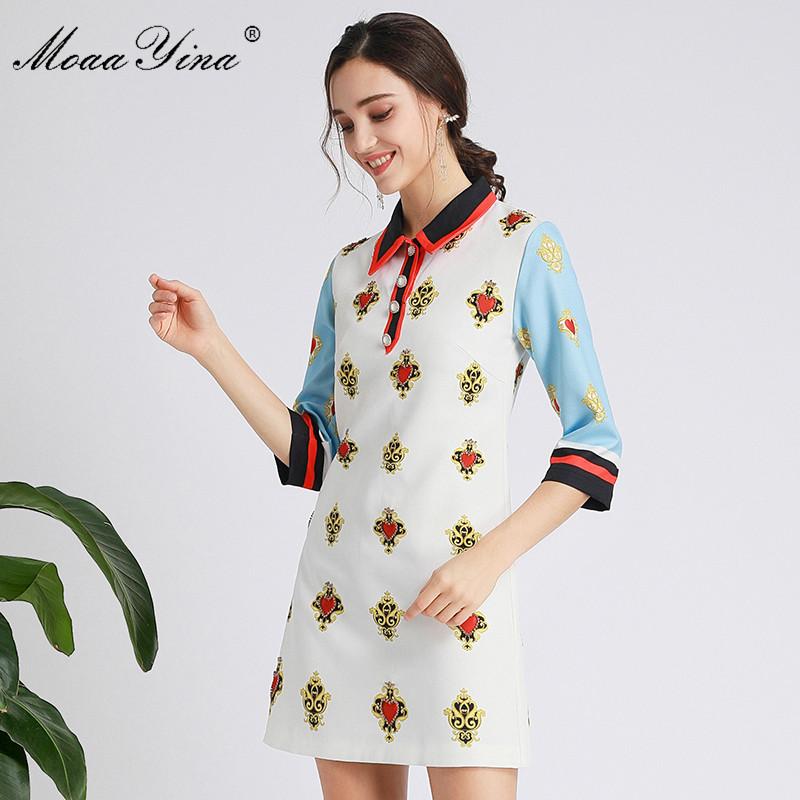 MoaaYina Fashion Designer dress Spring Autumn Women's Dress Half sleeve Beading Print Dresses 2