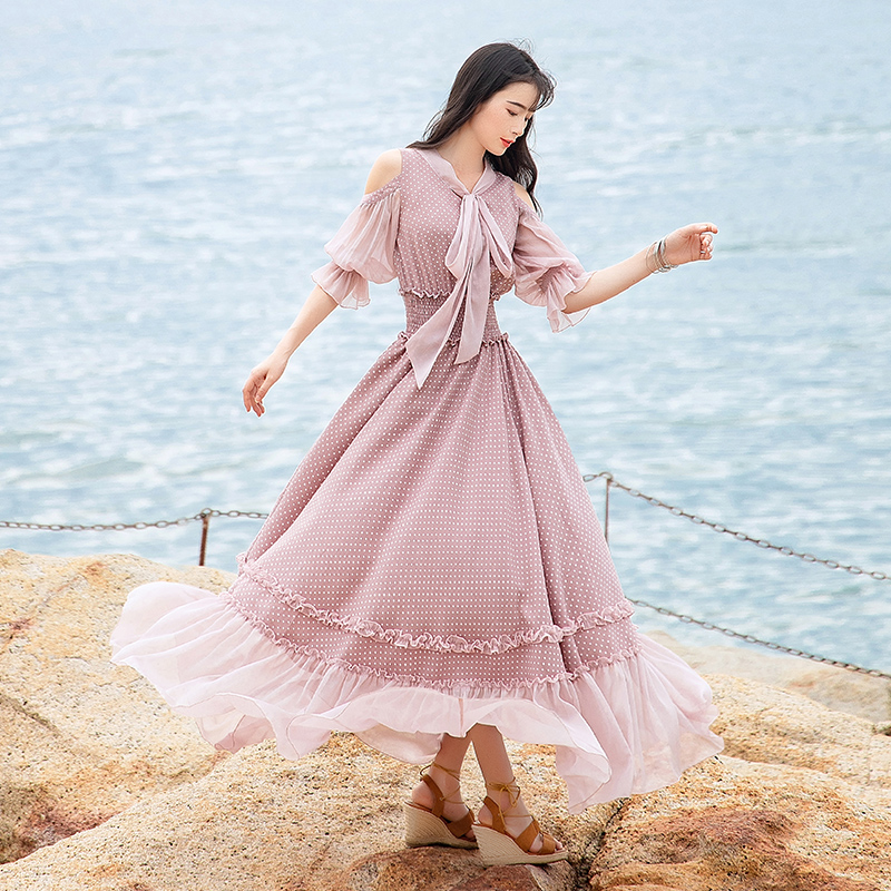 Free Shipping 19 Fashion Women Chiffon Long Maxi Ruffles Half Sleeve Dresses Summer Boshow Bohemian Dot Bandage Bow Dress S-L 2