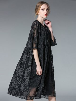 19 two pieces spring summer fashion dresses plus size half sleeve floral embroidery silk women oversized casual dress black