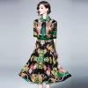Turn-down Collar Bow Flowers Printing Dress Half Sleeves Vintage Long 19 Women's Clothing Spring Summer Fashion Turn-down Collar Bow Flowers Printing Dress Half Sleeves Vintage Long Dresses Female