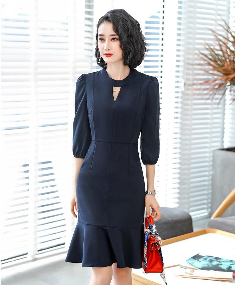 Formal OL Styles Half Sleeve Middle Long Business Women Dress Office Ladies Work Wear Summer Dresses Slim Hips Female Vestidos