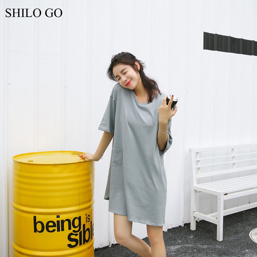 Dress Womens Summer Fashion Concise Casual O Neck half Sleeve dress front pocket loose grey cotton dress 3