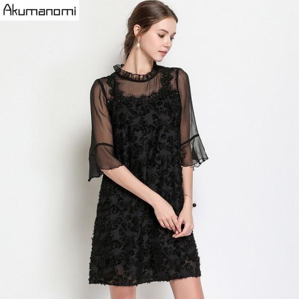summer Voile Dress women clothing black Ruffled flare half Sleeve mini dress High Quality Plus Size 5XL 4XL 3XL 2XL XL L M