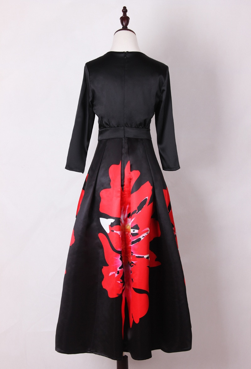 Mifairy 17 Black Half Sleeves Flowers Print Long Women Dress Plus Size Mid-calf Celebrity Style Dress 929 3