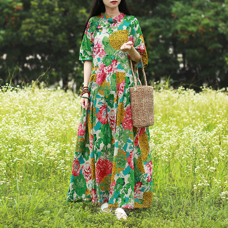 Hisenky 19 Mori Girl Half Sleeve Mandarin Collar Vintage Dress Plus Size Summer Maxi Dresses Long Women Dress Loose Vestidos 3