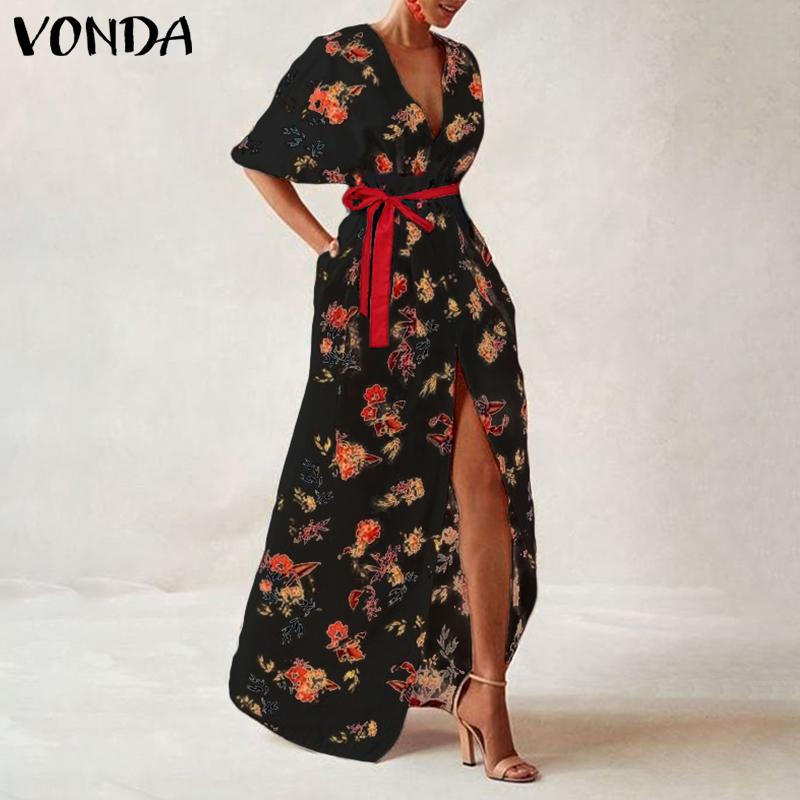 VONDA Women Vintage Printed Maxi Long Party Dress Sexy V Neck Short Sleeve Casual Loose Summer Beach Dresses Plus Size Vestidos