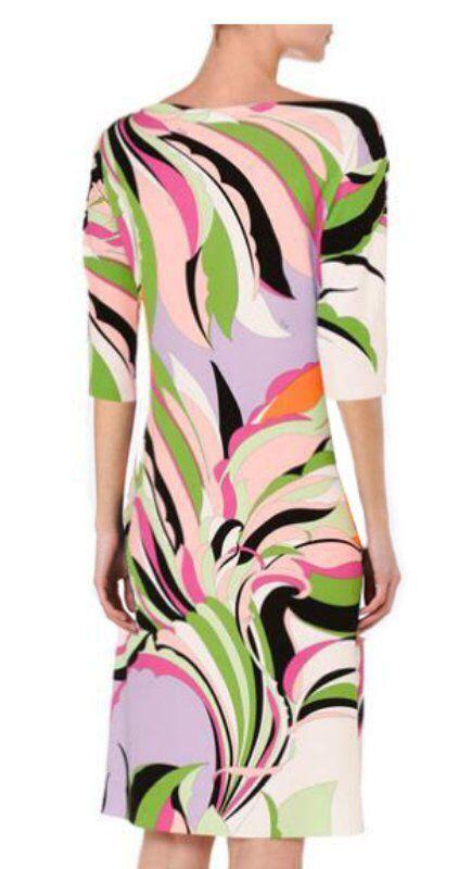 Women's new Italian fashion show o-Neck , pretty dress half sleeve printing knitting dress 2