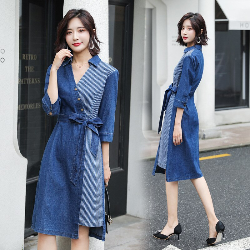 #2723 Denim Dresses For Women 19 Summer Jeans Dress Sexy Spliced Midi Dress V Neck Half Sleeve Dresses With Belt Plus Size 5XL