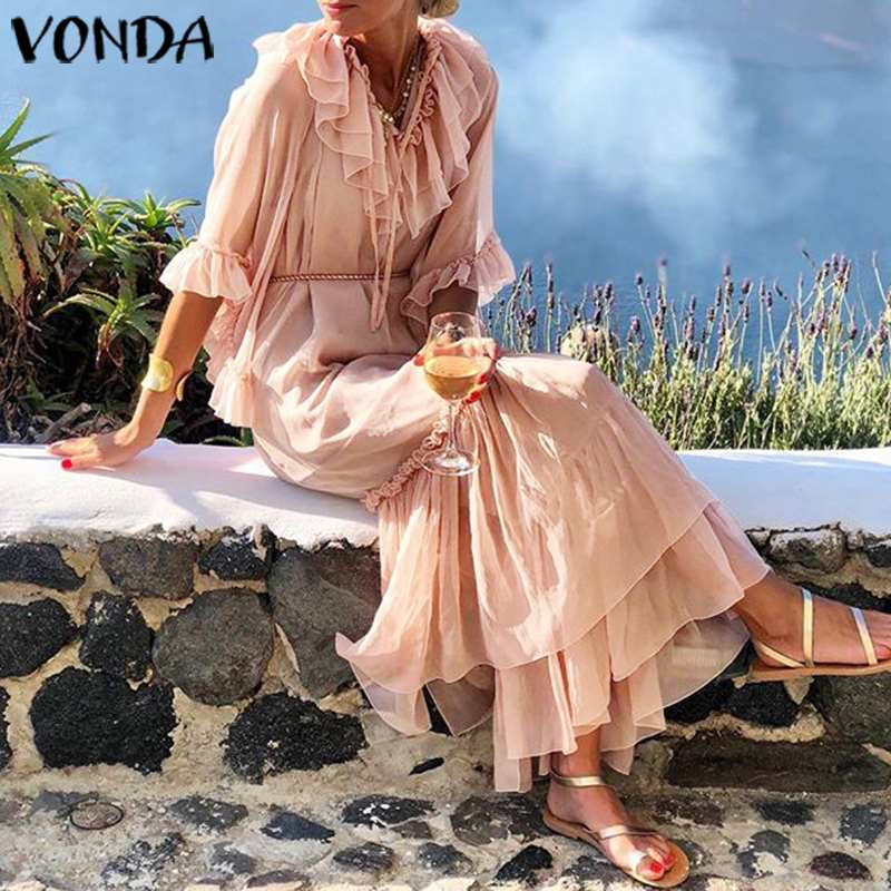 VONDA Solid Color Long Dress 19 Sexy V Neck Half Sleeve Vintage Dresses Beach Sundress Holiday Bohemian Vestidos Party Robe 1