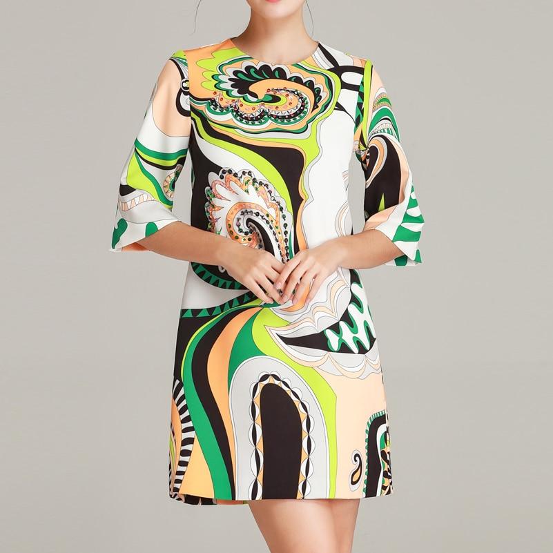 High quality 19 designer fashion summer dress Women's Half Sleeve Pattern Printed Sequined Beaded Vintage Straight Short Dress 2