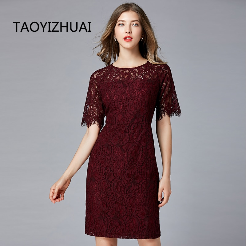 TAOYIZHUAI New Arrival Summer Straight Half Flare Sleeves Knee-Length Vintage O-Neck Elegant Party Lace Women Dress 11700 1