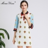 MoaaYina Fashion Designer dress Spring Autumn Women's Dress Half sleeve Beading Print Dresses