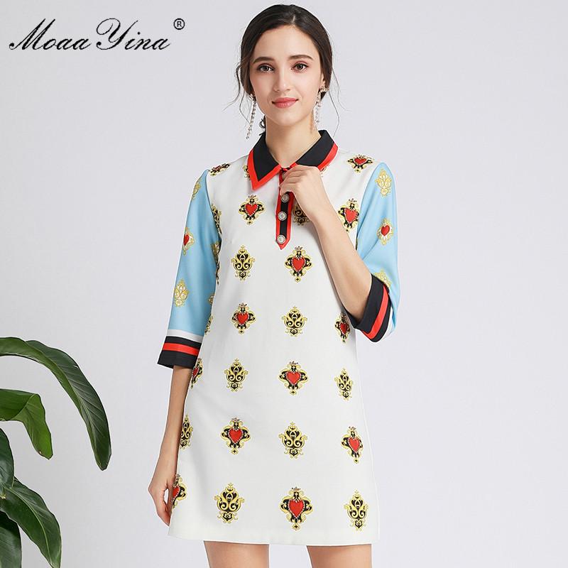 MoaaYina Fashion Designer dress Spring Autumn Women's Dress Half sleeve Beading Print Dresses
