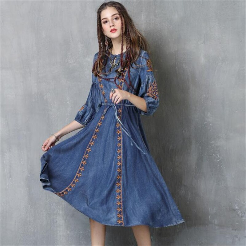 Autumn Denim Dress Clothing Women Jeans Lantern Half Sleeve Dress Vintage Spring Slim Cowboy Casual Long Dresses Blue A3819 2